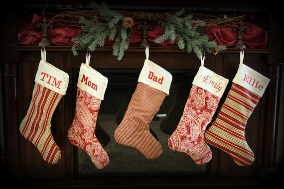 9a207c2bd Set of 4 Red Personalized Christmas Stockings 21 inch