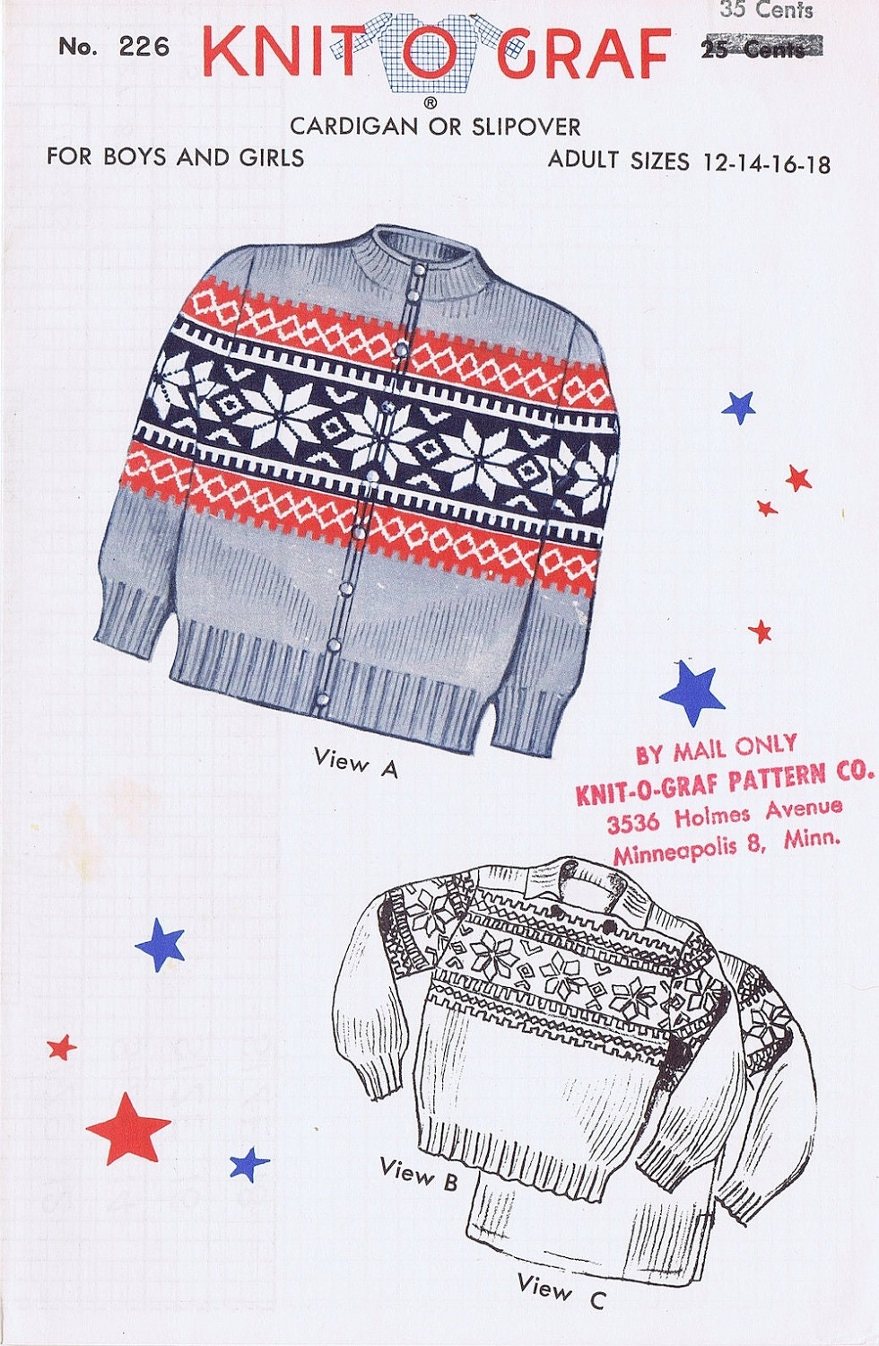 Knit-O-Graf Adult Fair Isle Sweater Knitting Pattern from ...