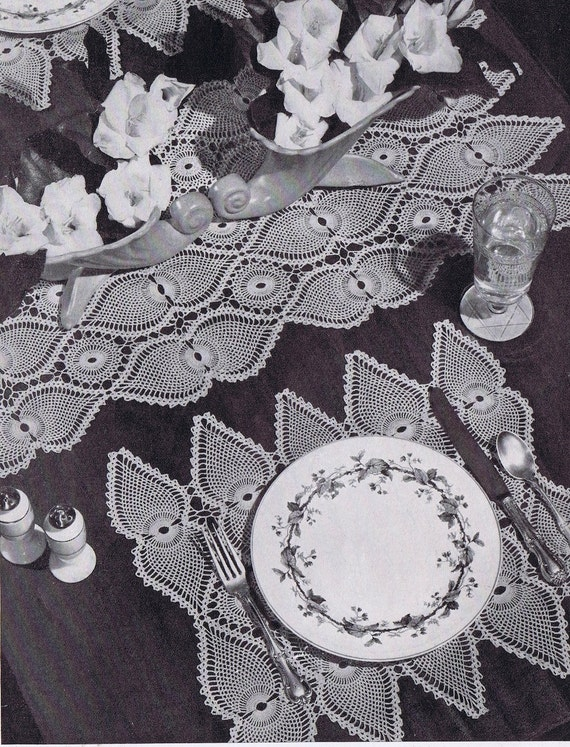 Pineapple Doily Vintage Crochet Pattern Placemat Table Etsy