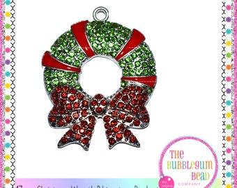 Christmas pendants etsy 47mm christmas holiday wreath rhinestone pendant gumball necklace pendant chunky necklace christmas pendant the bubblegum bead co aloadofball Image collections