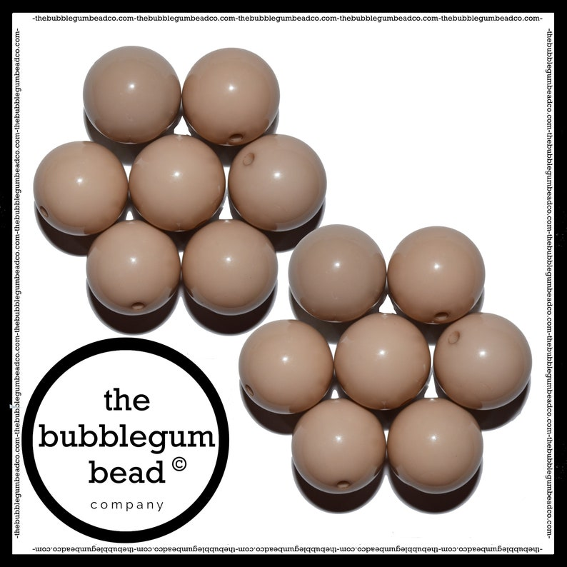 Bubble Gum Beads Beads for Chunky Necklaces Gumball Beads Acrylic Beads 20mm-KHAKI TAN Solid Chunky Beads Set of 10