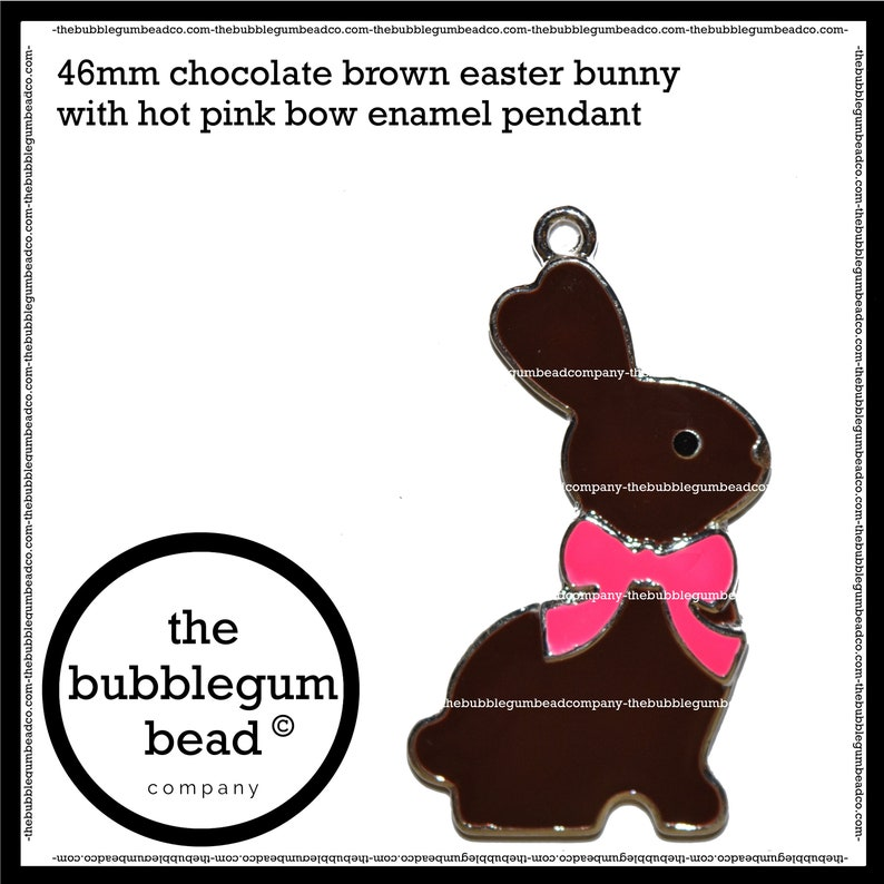 Enamel Bunny 46mm-BROWN EASTER BUNNY Rabbit Bubblegum Necklace Pendant Chunky Necklace Pendant The Bubblegum Bead Co. Gumball Pendant