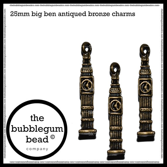 2 Clock Charms Antiqued Silver Big Ben UK Charms 27mm Steampunk