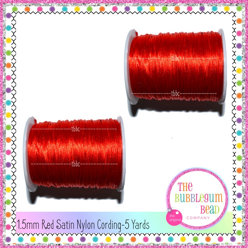 Red Cording Satin Cord 5 Yards Teething Necklace Cord Red Cord Rat Tail Cording 1.5mm RED SATIN CORDING Bubblegum Necklace Cording