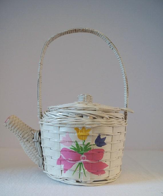 Vintage Figural Wicker Purse Teapot, Spring Bouque