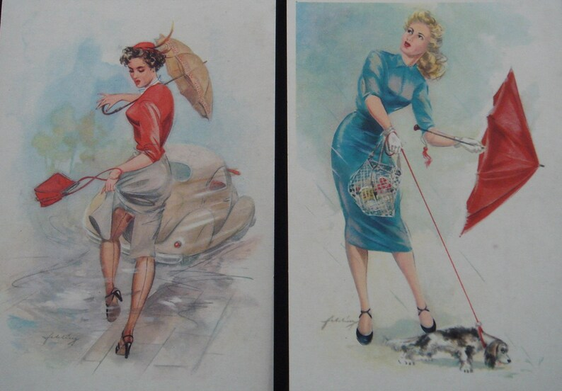 Vintage 1950s Postcards  50s Heinz Fehling PIN UP Girls Postcard Set of 6   German Calendar Girl Artist Illustrated Pin-Up Girl Postcards