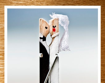 "Wedding CARD ""Happily Ever After"" Original 6 x 4 Photo on Nice Thick Card Stock. Love, Whimsical Wedding Card, Beach, Kissing Pegs, Mr & Mr"
