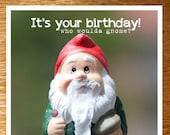 Articles similaires à Drôle Gnome anniversaire carte, carte d ...