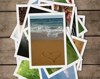 POSTCARDS Set of 4. POSTCROSSING. Love is all around. Love, Beach, Australia, Sydney, Hearts, Pebbles, Stones