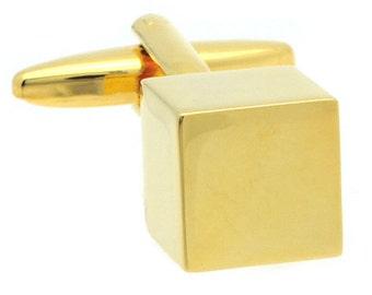 GOLD CUBE CUFFLINKS n00705