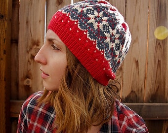 Weaver fair isle knitted hat PDF instant pattern knit tutorial instructions color working nordic star by Rhonda Potteet Out of the Thistle