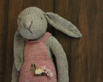 Claire the Hare knitted bunny rabbit toy doll softie pattern tutorial instructions child gift artist bear by Rhonda Potteet of Thread Bears