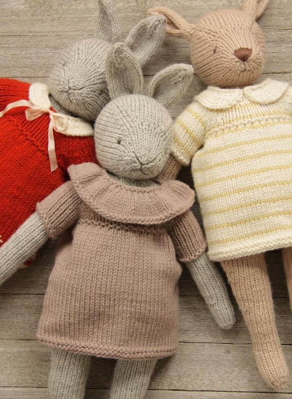 Knitting Pattern Doll Boatneck Dress dress up peasant PDF tutorial softie instructions toy kid gift woodland nursery child animal