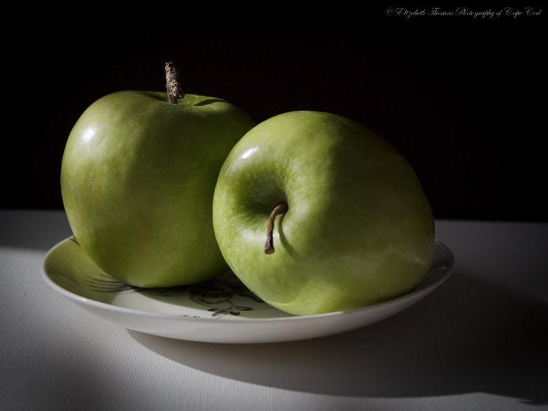 Green apple food still life photography fruit diningroom etsy