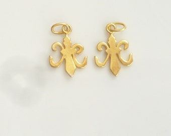 Other Fine Jewelry Fleur De Lis Earrings Jewelry Sterling Silver And Yellow Bronze Handmade Flower Distinctive For Its Traditional Properties Fine Jewelry