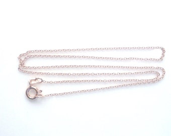 16 inches Rose gold laser cut  cable link chain, finished chain, necklace chain. (1x1.5mm), .925 stamped  (rose gold .925 sterling silver)