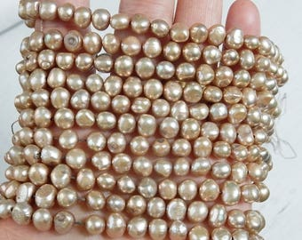 6-7mm Champagne  Side Drilled Potato freshwater pearls  - Full Strand (16 inches)