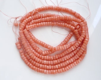 4.5mm   salmon Coral heishi beads,   pink coral , coral tyre beads