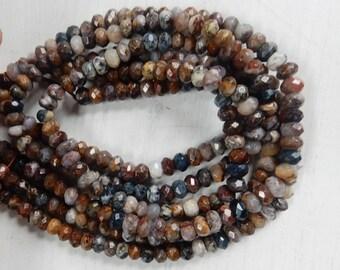 8x5mm Pietersite quartz faceted rondelle beads (15.5 inches)