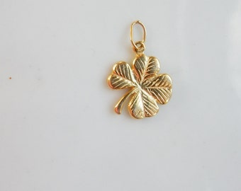 Gold Vermeil   4 leaves clover pendant , charm,(14x12mm), gold plated over .925 sterling silver