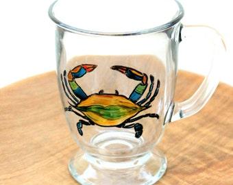 Maryland Blue Crab Mug, Glass Mug, Hand Painted Mug, Coffee Mug, Painted Glasses, Chesapeake Bay