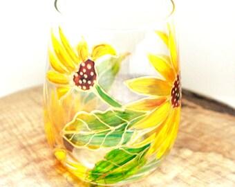 Sunflower Wine Glass Hand Painted Wine Glass Wine Glasses Stemless Sunflower Wedding Glass Candle Holder Painted Wine Glasses Flower Glass
