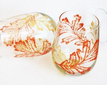 Fall Leaf Wine Glasses, Hand Painted Wine Glasses, Fall Wine Glasses, Fall Wedding, Wine Gift, Fall Leaves, Stemless Wine Glasses, thanksgiv