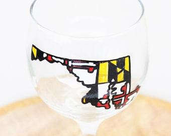 Maryland Wine Glass, Hand Painted Wine Glasses, State Wine Glasses, Wine Glasses Painted, Stemless Wine Glasses, Maryland Flag