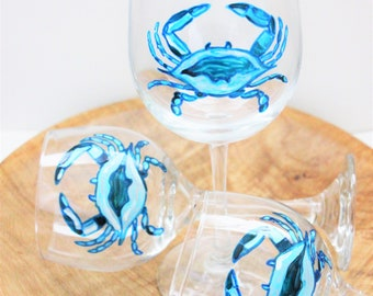 Maryland Blue Crab Wine Glass, Hand Painted Wine Glasses, Crab Wine Glass, Wine Gift, Chesapeake Bay, Ocean Wine Glass, Maryland Blue Crab