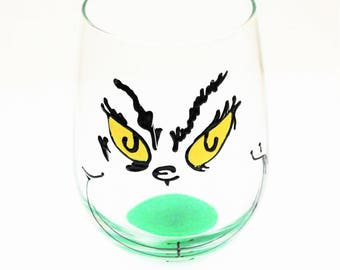 Grinch Wine Glass, Christmas Wine Glasses, Painted Wine Glasses, Hand Painted Wine Glasses, Funny Wine Glasses, Wine Gift