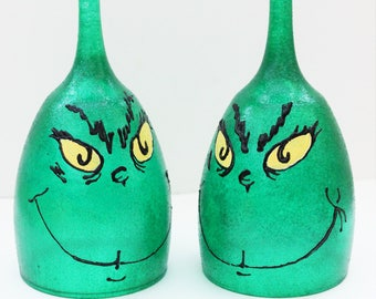 Grinch Candle Holder, Grinch Decor, Grinch Wine Glass, Wine Glass Candle Holder, Christmas Decor, Christmas Wine Glasses