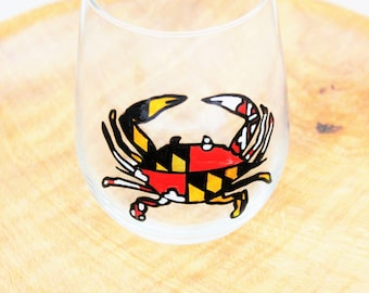 Maryland Flag Crab Wine Glass, Hand Painted Wine Glasses, Maryland Flag, Maryland WIne Glass, Crab Wine Glass, Wine Gift