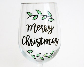 Christmas Wine Glasses, Merry Christmas, Calligraphy Font, Wine Glasses With Sayings, Wine Gift, Hand Painted Wine Glasses