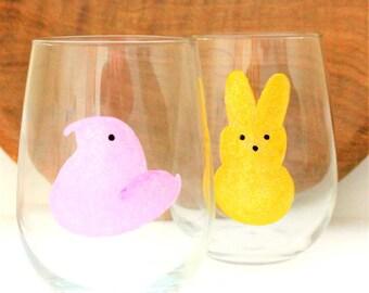 Easter Peep Wine Glasses, Hand Painted Wine Glasses, Peep Wine Glass, Easter Bunny Peeps, Easter Wine Glass, Easter Peeps,  Spring Wine Glas
