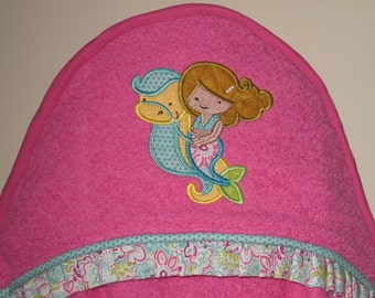 NEW! girl hooded towel mermaid applique personalized many colors