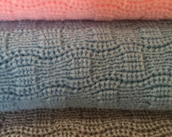 Knitted Baby Afghan/ Blanket,  Light Pink or Light Blue