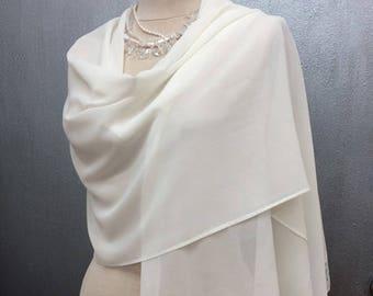 Ivory Chiffon Shawl Wrap with Chantilly Lace Bridal