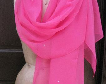 Bright  Pink Chiffon Rhinestone Shawl with Rhinestones SALE
