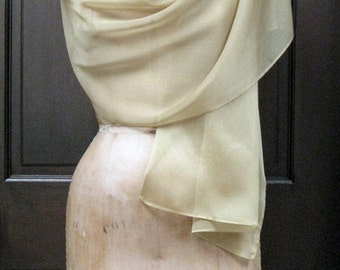 Gold Chiffon Shawl Wrap Scarf 24K Shade