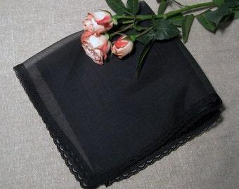 Handkerchief with  Lace Edge Black