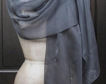 Charcoal Chiffon Shawl Wrap Scarf with Rhinestones