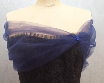 Navy Blue Tulle Wrap Shaw Stole Shear Cover up