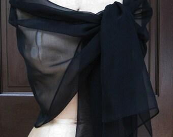 Black Chiffon Shawl Wrap Scarf