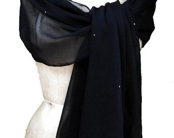 Navy Dark XL Chiffon Wrap shawl with Rhinestones