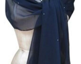 Navy Blue Chiffon Shawl Wrap Scarf with Rhinestones