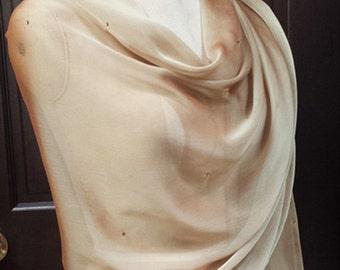 Gold Chiffon Shawl Wrap Scarf with Rhinestons soft Gold
