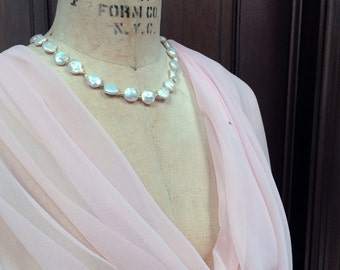 Pale Pink Blush Pink Chiffon Wrap Shawl with Rhinestone XLarge