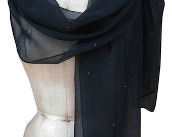 Black Chiffon Shawl Scarf Wrap with Rhinestone