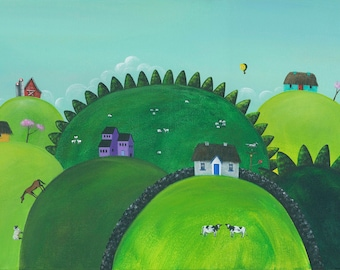 Hilly Happy Hills Giclée Archival Print - Paper or Canvas - Folk Art Irish Thatch Roof Houses, Horses, Balloon, Sheep, Cows - Various Sizes