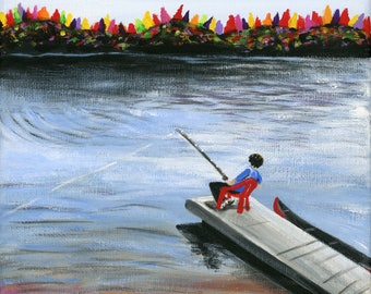 Little Fishing Patroller Giclée Archival Print - Paper or Canvas - Various Sizes - Fall Cottage Folk Art, man fishing from dock on the lake